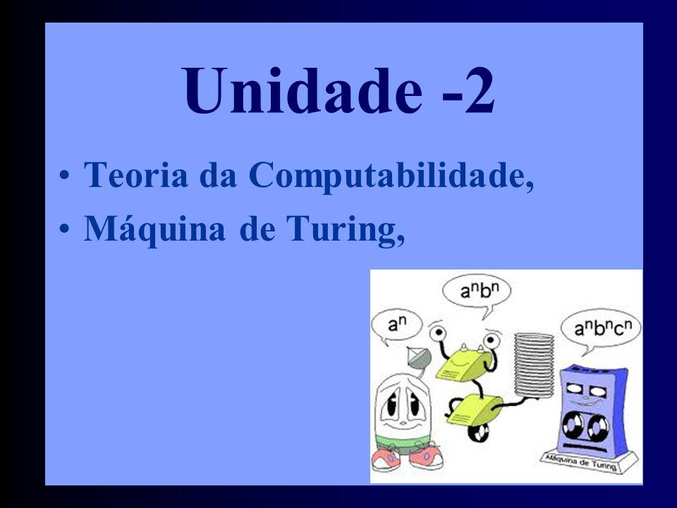 •Teoria da Computabilidade, •Máquina de Turing, Unidade -2