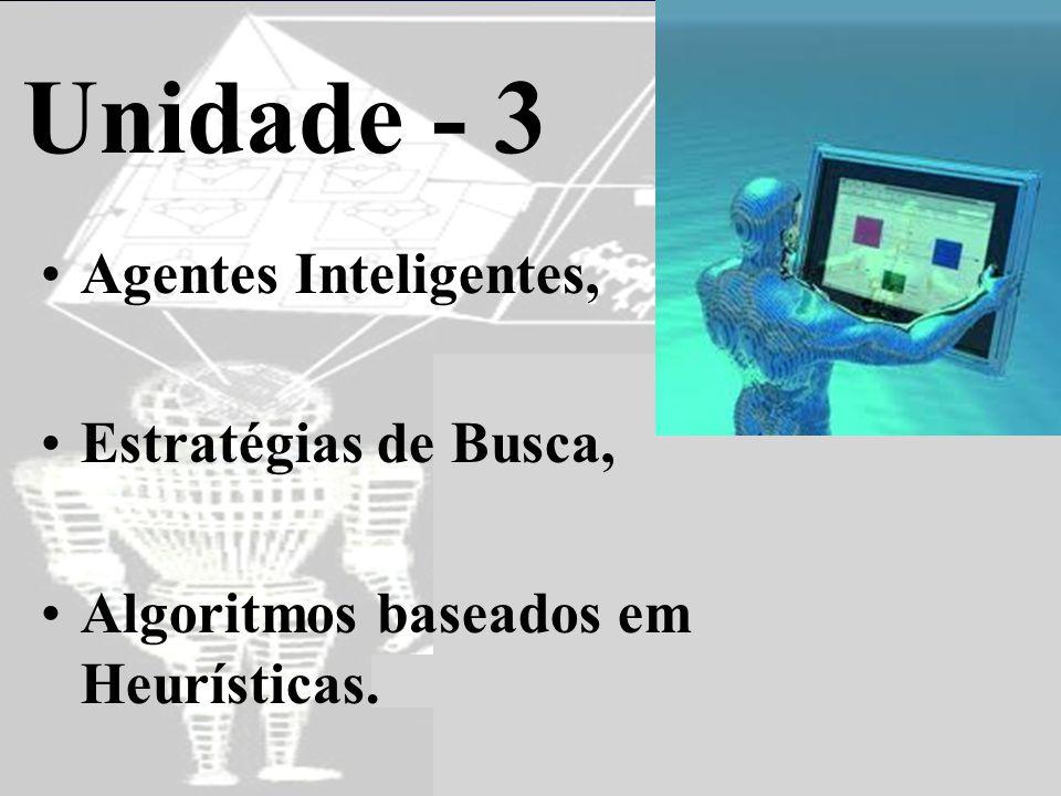 Unidade - 3 •Agentes Inteligentes, •Estratégias de Busca, •Algoritmos baseados em Heurísticas.