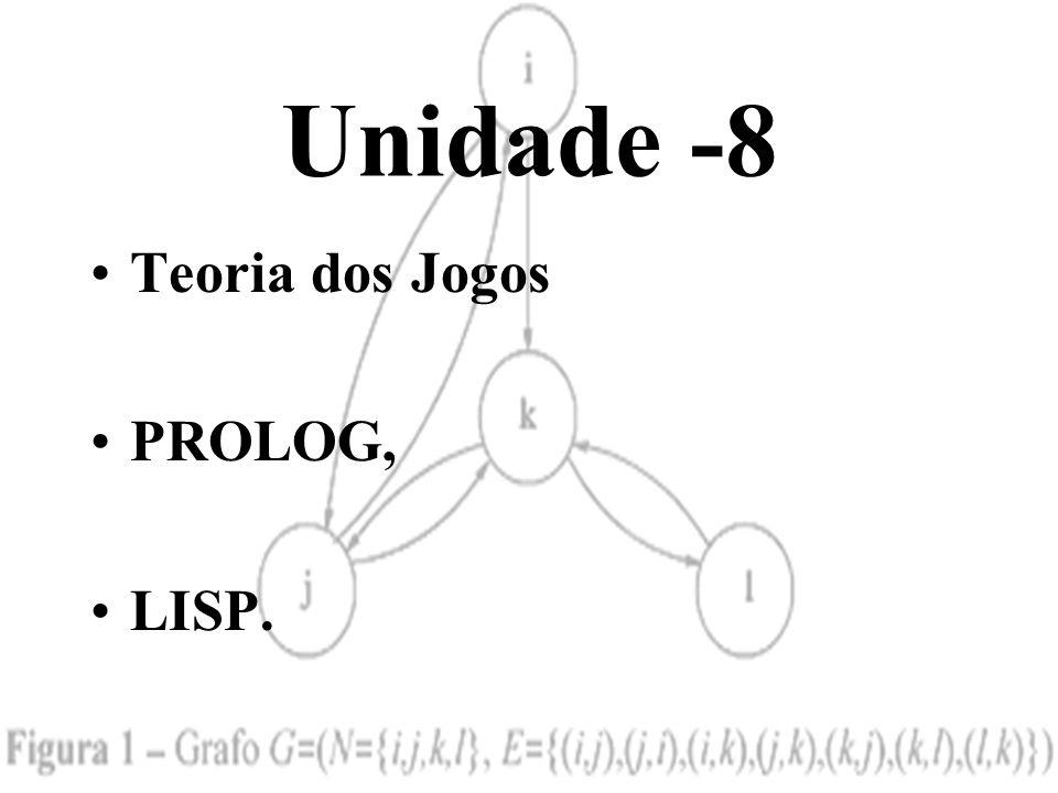 Unidade -8 •Teoria dos Jogos •PROLOG, •LISP.