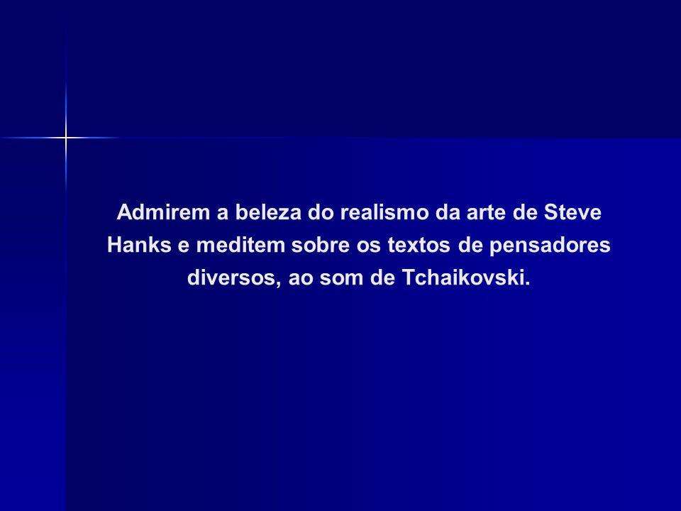 Admirem a beleza do realismo da arte de Steve Hanks e meditem sobre os textos de pensadores diversos, ao som de Tchaikovski.