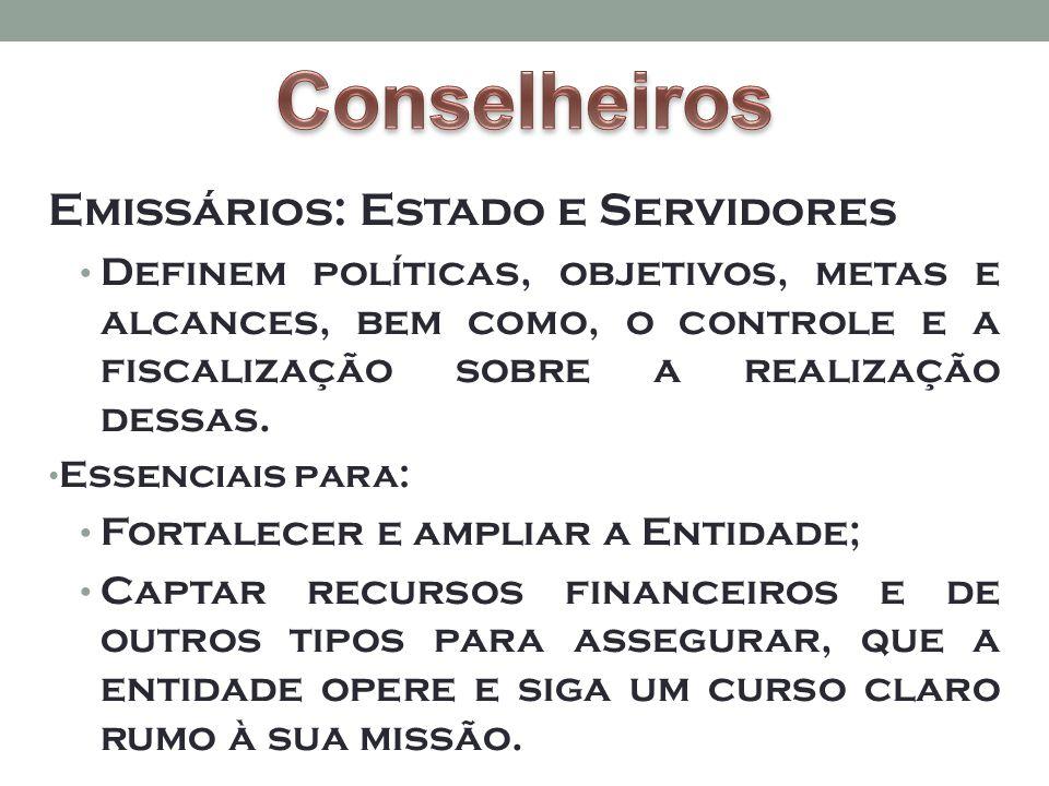 Emissários: Estado e Servidores • Definem políticas, objetivos, metas e alcances, bem como, o controle e a fiscalização sobre a realização dessas.