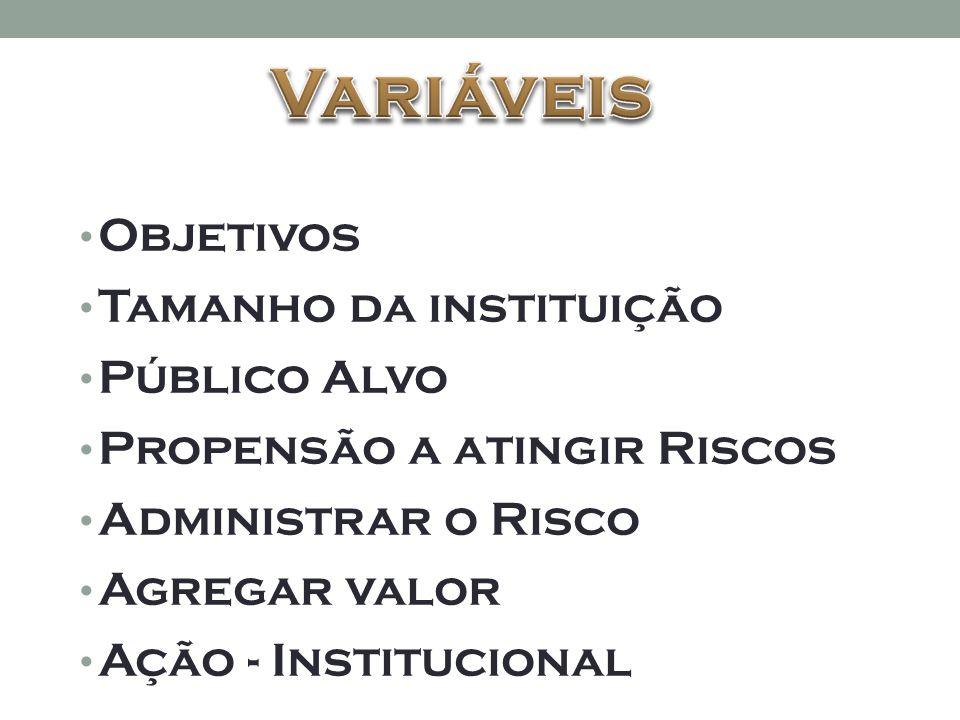 • Objetivos • Tamanho da instituição • Público Alvo • Propensão a atingir Riscos • Administrar o Risco • Agregar valor • Ação - Institucional