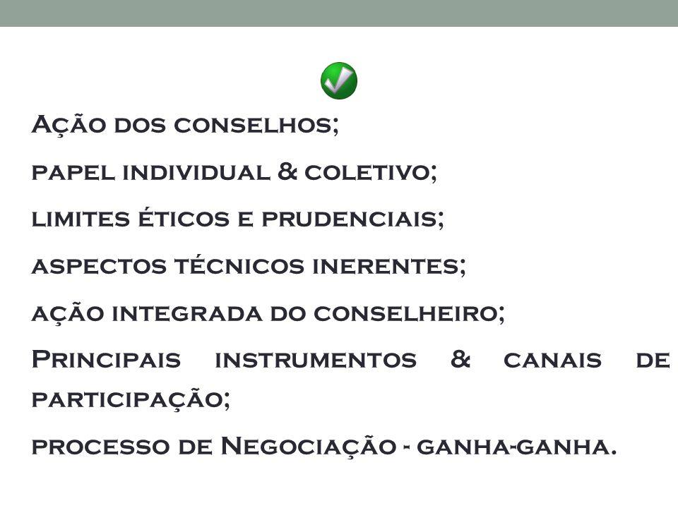 Ação dos conselhos; papel individual & coletivo; limites éticos e prudenciais; aspectos técnicos inerentes; ação integrada do conselheiro; Principais instrumentos & canais de participação; processo de Negociação - ganha-ganha.