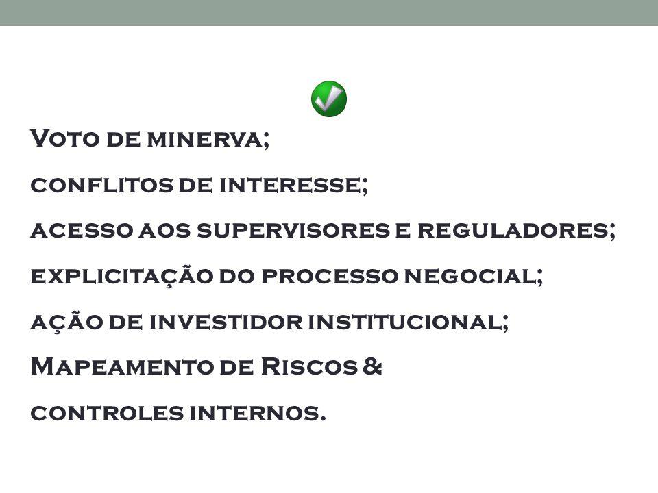 Voto de minerva; conflitos de interesse; acesso aos supervisores e reguladores; explicitação do processo negocial; ação de investidor institucional; Mapeamento de Riscos & controles internos.