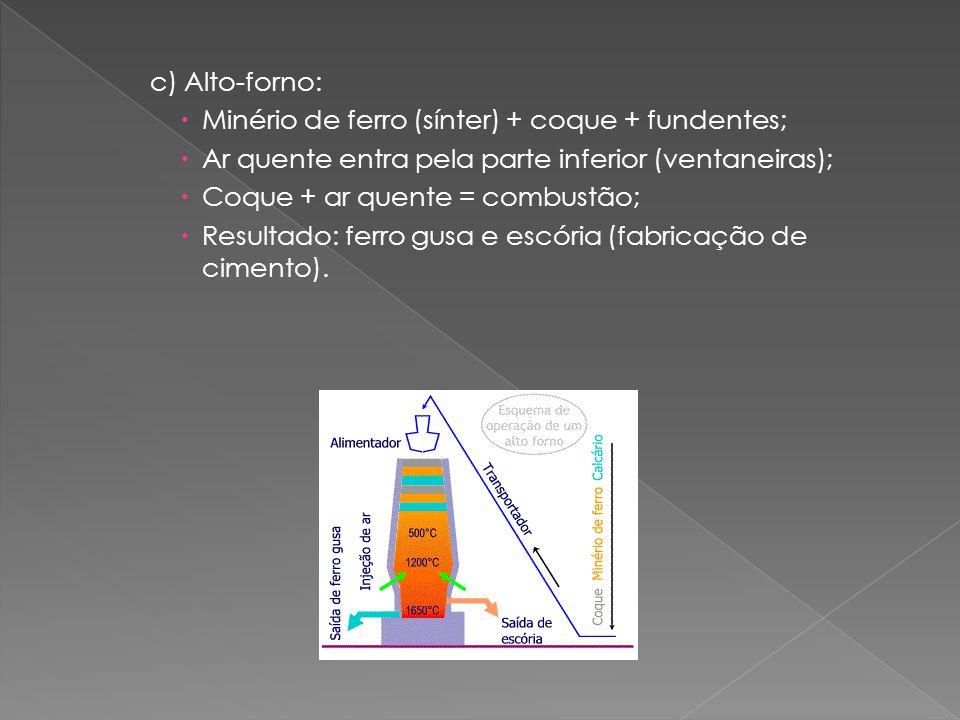 c) Alto-forno:  Minério de ferro (sínter) + coque + fundentes;  Ar quente entra pela parte inferior (ventaneiras);  Coque + ar quente = combustão;  Resultado: ferro gusa e escória (fabricação de cimento).