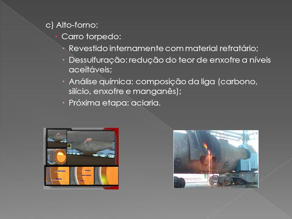 c) Alto-forno:  Carro torpedo:  Revestido internamente com material refratário;  Dessulfuração: redução do teor de enxofre a níveis aceitáveis;  Análise química: composição da liga (carbono, silício, enxofre e manganês);  Próxima etapa: aciaria.