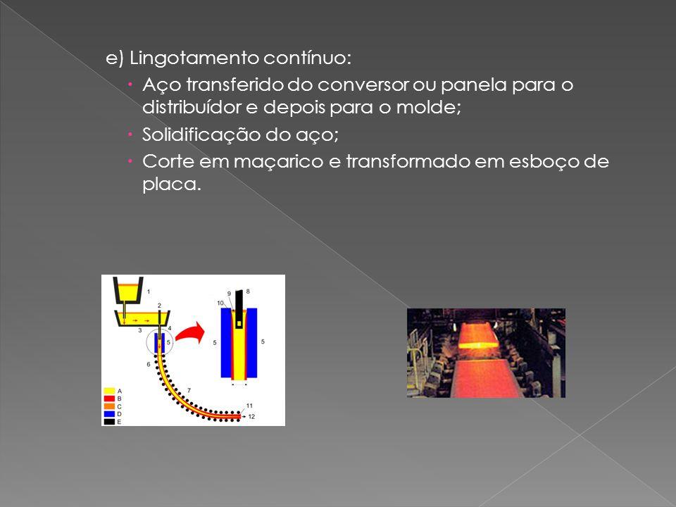 e) Lingotamento contínuo:  Aço transferido do conversor ou panela para o distribuídor e depois para o molde;  Solidificação do aço;  Corte em maçarico e transformado em esboço de placa.