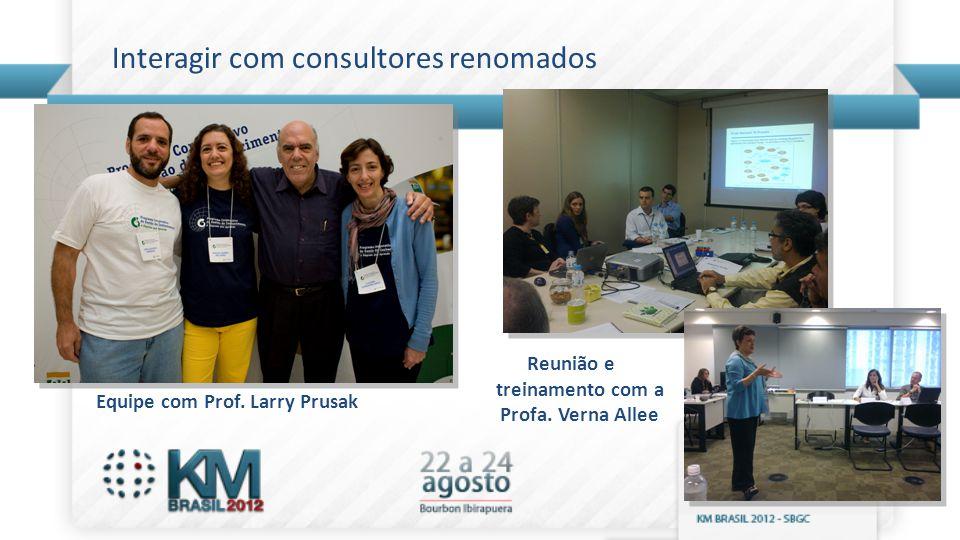 Interagir com consultores renomados Equipe com Prof. Larry Prusak Reunião e treinamento com a Profa. Verna Allee