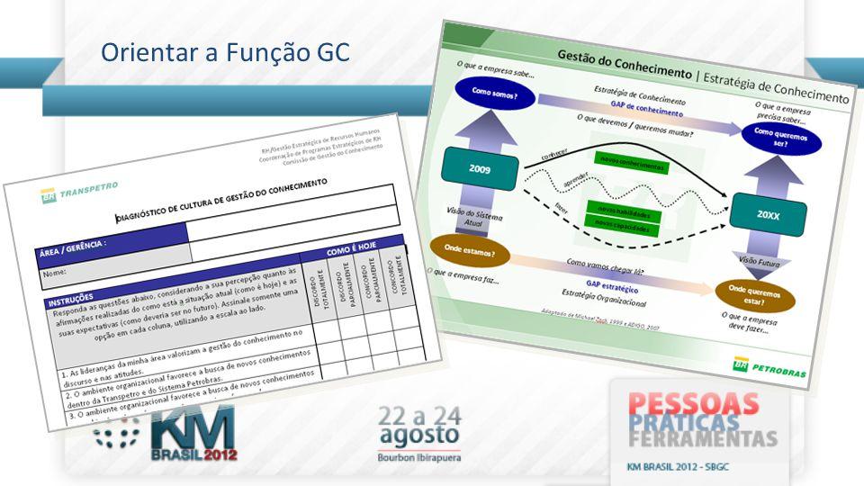 Manter a Função GC informada sobre os Projetos •Realização de reuniões mensais para informar a Função sobre o andamento dos Projetos e colher aprovação/aval para dar prosseguimento às iniciativas