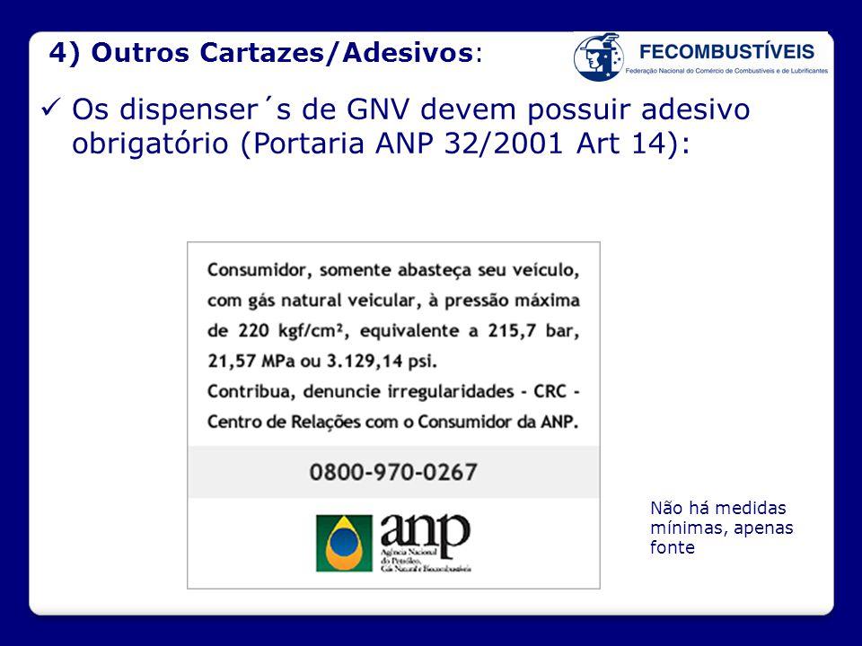4) Outros Cartazes/Adesivos:  Os dispenser´s de GNV devem possuir adesivo obrigatório (Portaria ANP 32/2001 Art 14): Não há medidas mínimas, apenas f
