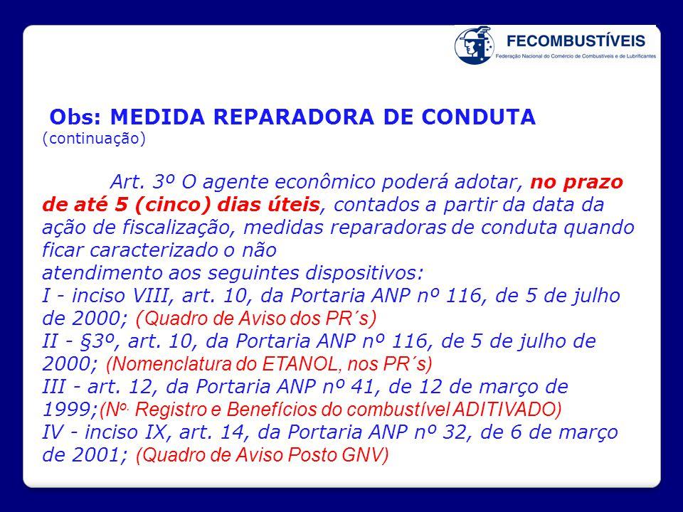 Obs: MEDIDA REPARADORA DE CONDUTA (continuação) Art. 3º O agente econômico poderá adotar, no prazo de até 5 (cinco) dias úteis, contados a partir da d
