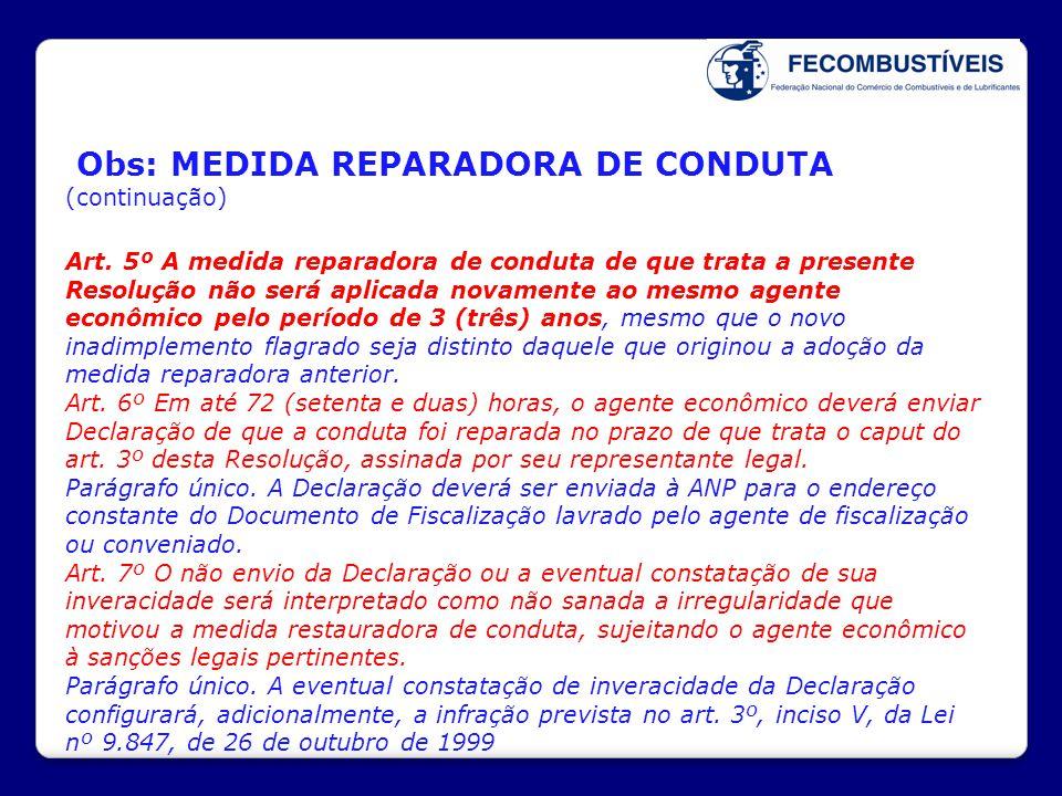 Obs: MEDIDA REPARADORA DE CONDUTA (continuação) Art. 5º A medida reparadora de conduta de que trata a presente Resolução não será aplicada novamente a