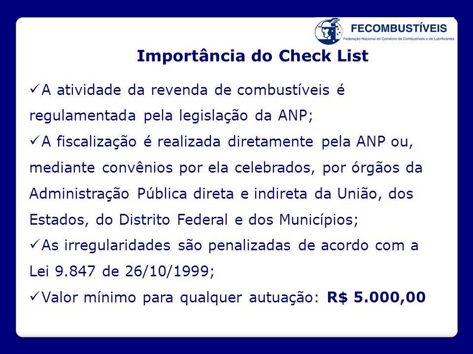 Importância do Check List  A atividade da revenda de combustíveis é regulamentada pela legislação da ANP;  A fiscalização é realizada diretamente pe