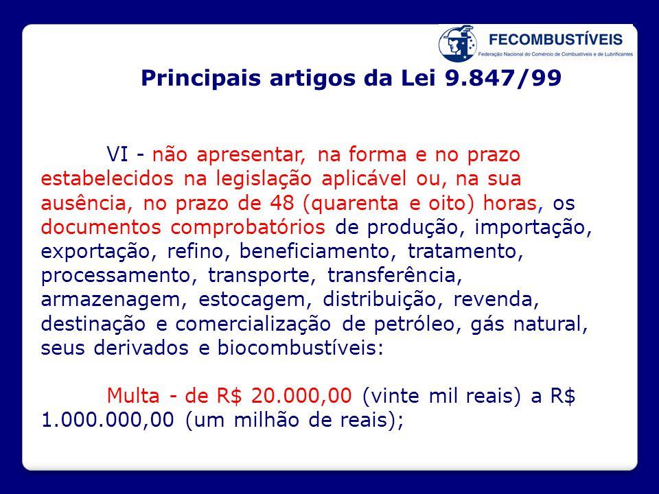 Principais artigos da Lei 9.847/99 VI - não apresentar, na forma e no prazo estabelecidos na legislação aplicável ou, na sua ausência, no prazo de 48