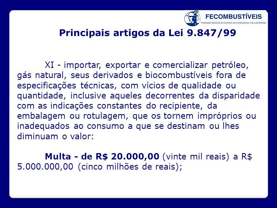 Principais artigos da Lei 9.847/99 XI - importar, exportar e comercializar petróleo, gás natural, seus derivados e biocombustíveis fora de especificaç
