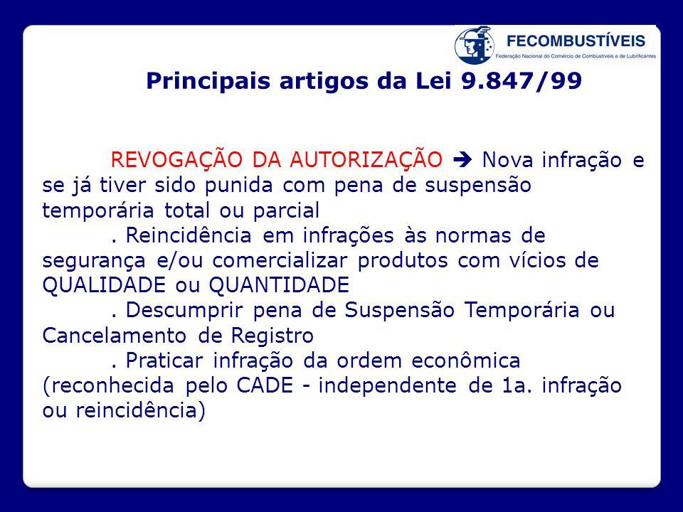 Principais artigos da Lei 9.847/99 REVOGAÇÃO DA AUTORIZAÇÃO  Nova infração e se já tiver sido punida com pena de suspensão temporária total ou parcia