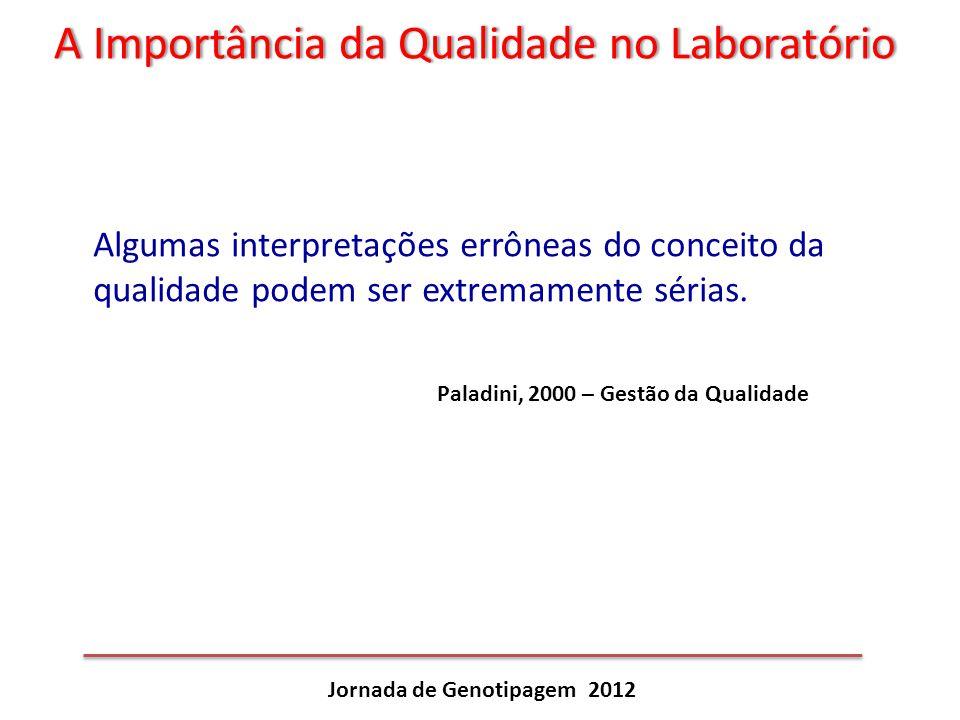 A Importância da Qualidade no LaboratórioA Importância da Qualidade no Laboratório Jornada de Genotipagem 2012 Algumas interpretações errôneas do conc