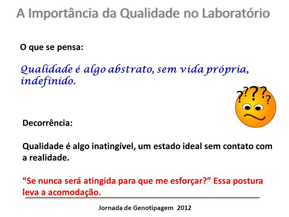 A Importância da Qualidade no LaboratórioA Importância da Qualidade no Laboratório Jornada de Genotipagem 2012 O que se pensa: Qualidade é algo abstra