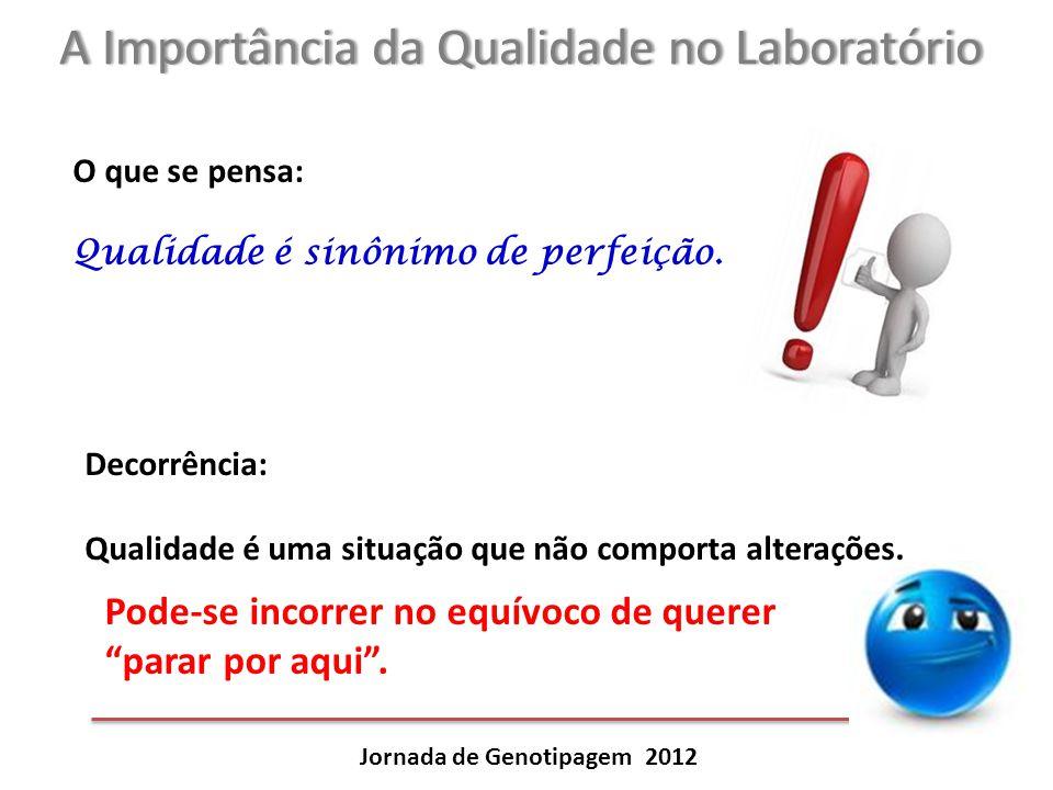 A Importância da Qualidade no LaboratórioA Importância da Qualidade no Laboratório Jornada de Genotipagem 2012 O que se pensa: Qualidade é sinônimo de
