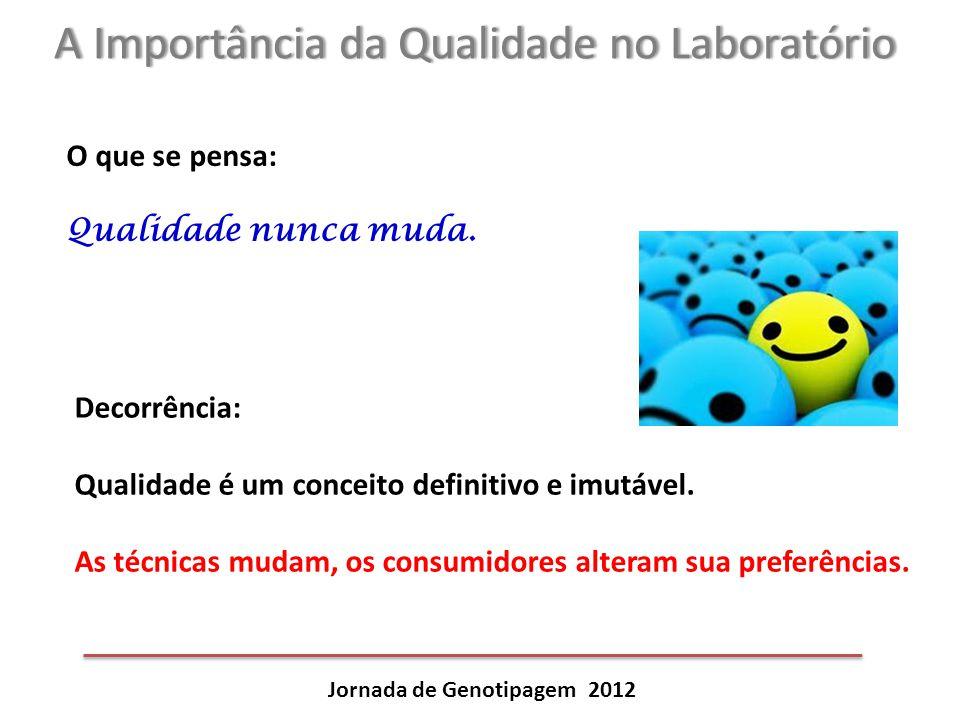 A Importância da Qualidade no LaboratórioA Importância da Qualidade no Laboratório Jornada de Genotipagem 2012 O que se pensa: Qualidade nunca muda. D