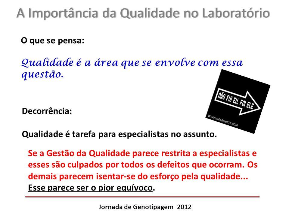A Importância da Qualidade no LaboratórioA Importância da Qualidade no Laboratório Jornada de Genotipagem 2012 O que se pensa: Qualidade é a área que