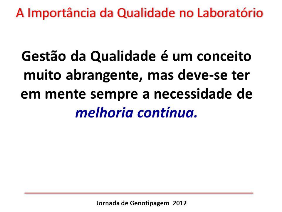 A Importância da Qualidade no LaboratórioA Importância da Qualidade no Laboratório Jornada de Genotipagem 2012 Gestão da Qualidade é um conceito muito