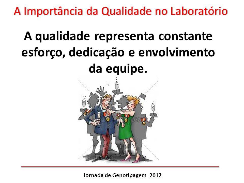 A Importância da Qualidade no LaboratórioA Importância da Qualidade no Laboratório Jornada de Genotipagem 2012 A qualidade representa constante esforç