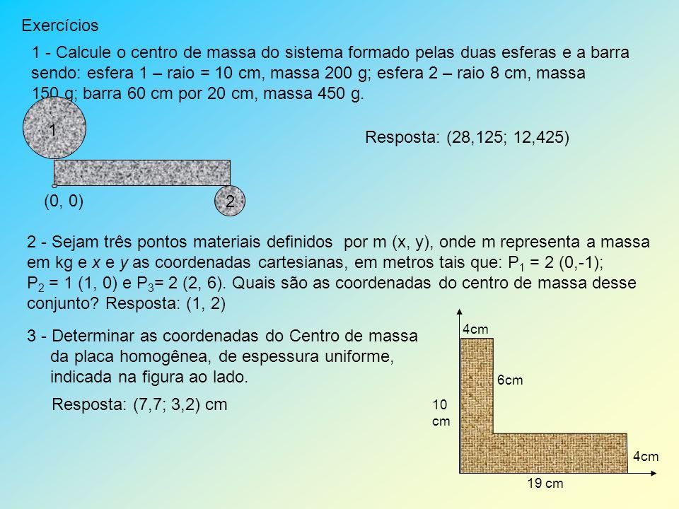 Exercícios 1 - Calcule o centro de massa do sistema formado pelas duas esferas e a barra sendo: esfera 1 – raio = 10 cm, massa 200 g; esfera 2 – raio