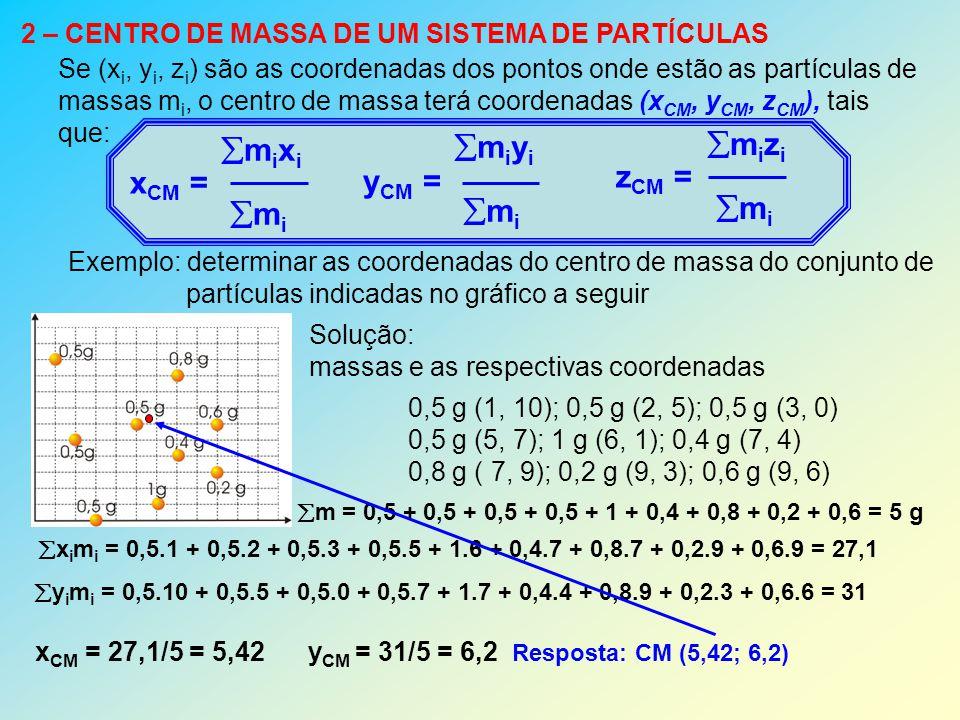 2 – CENTRO DE MASSA DE UM SISTEMA DE PARTÍCULAS Se (x i, y i, z i ) são as coordenadas dos pontos onde estão as partículas de massas m i, o centro de