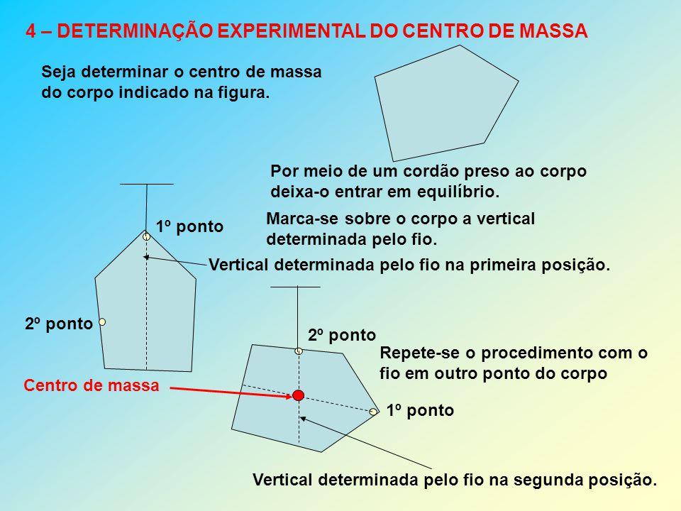 4 – DETERMINAÇÃO EXPERIMENTAL DO CENTRO DE MASSA Seja determinar o centro de massa do corpo indicado na figura. Por meio de um cordão preso ao corpo d