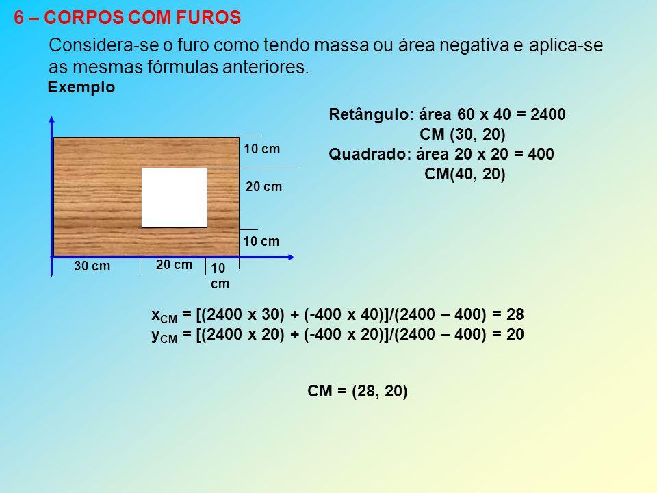 6 – CORPOS COM FUROS Considera-se o furo como tendo massa ou área negativa e aplica-se as mesmas fórmulas anteriores. Exemplo 30 cm 20 cm 10 cm 10 cm
