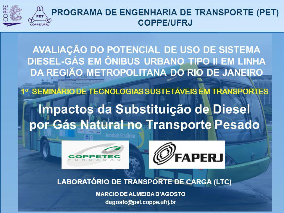 PROGRAMA DE ENGENHARIA DE TRANSPORTE (PET) COPPE/UFRJ Impactos da Substituição de Diesel por Gás Natural no Transporte Pesado 1 o SEMINÁRIO DE TECNOLO