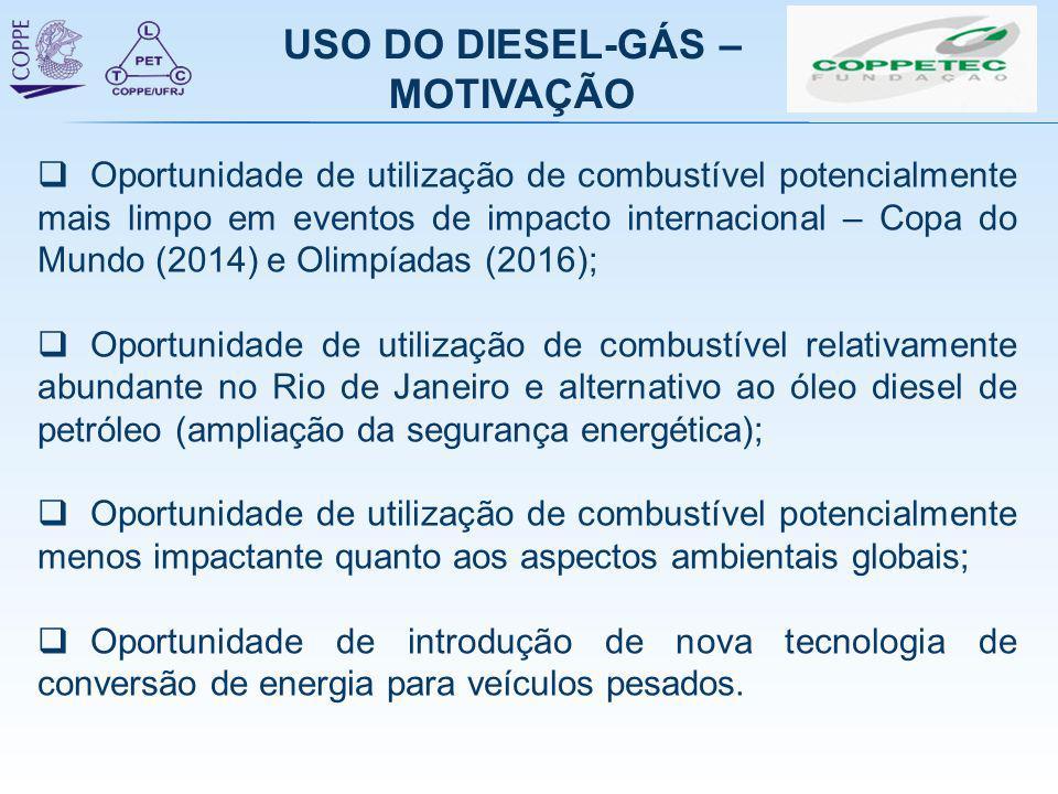 USO DO DIESEL-GÁS – MOTIVAÇÃO  Oportunidade de utilização de combustível potencialmente mais limpo em eventos de impacto internacional – Copa do Mund