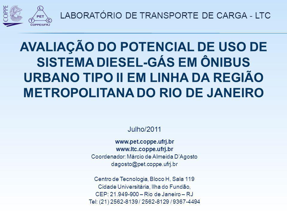 LABORATÓRIO DE TRANSPORTE DE CARGA - LTC www.pet.coppe.ufrj.br www.ltc.coppe.ufrj.br Coordenador: Márcio de Almeida D'Agosto dagosto@pet.coppe.ufrj.br