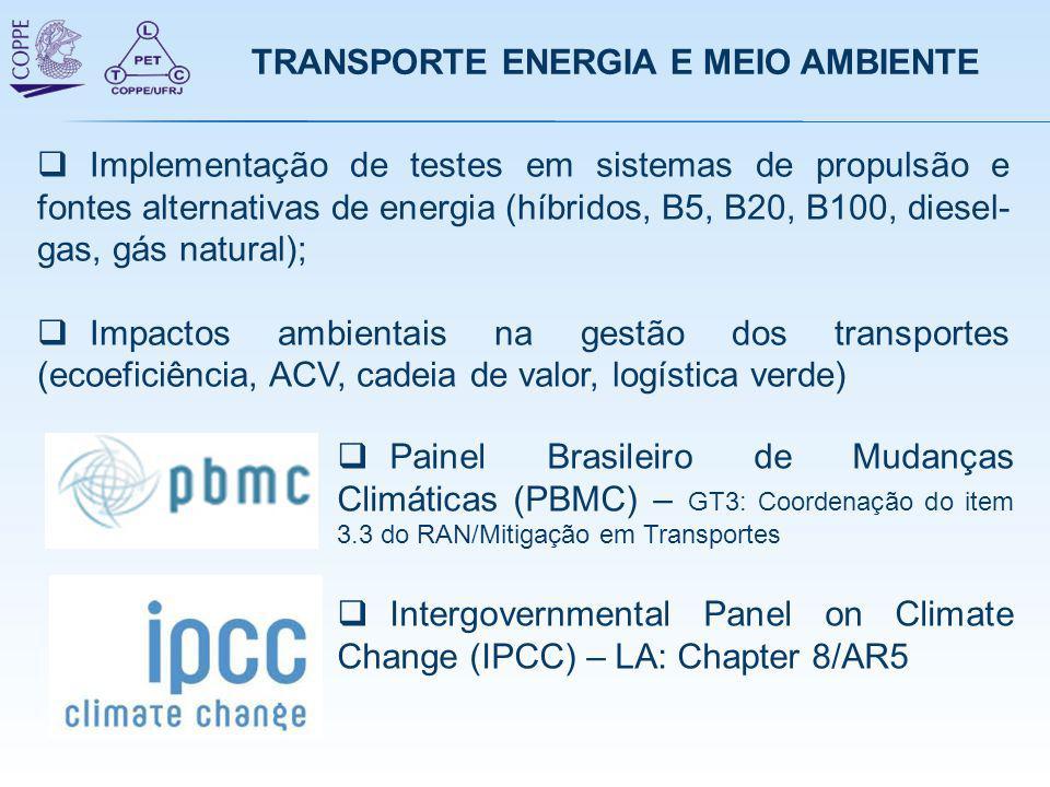 TRANSPORTE ENERGIA E MEIO AMBIENTE  Painel Brasileiro de Mudanças Climáticas (PBMC) – GT3: Coordenação do item 3.3 do RAN/Mitigação em Transportes 