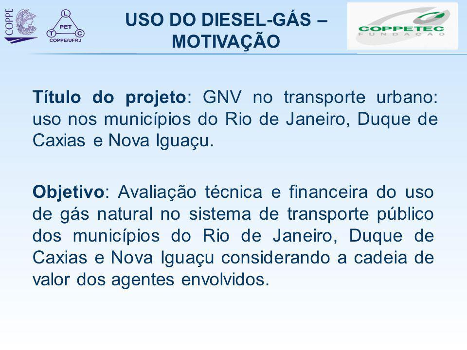 USO DO DIESEL-GÁS – MOTIVAÇÃO Objetivo: Avaliação técnica e financeira do uso de gás natural no sistema de transporte público dos municípios do Rio de