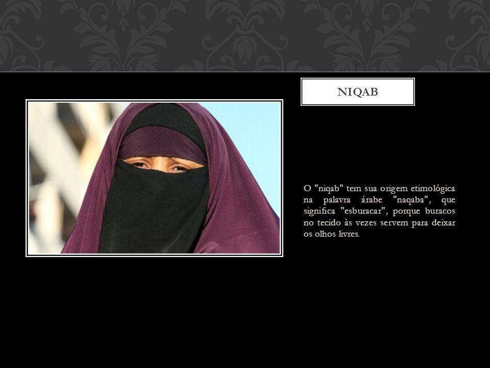 O niqab tem sua origem etimológica na palavra árabe naqaba , que significa esburacar , porque buracos no tecido às vezes servem para deixar os olhos livres.