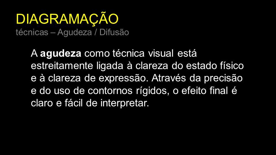 DIAGRAMAÇÃO técnicas – Agudeza / Difusão A agudeza como técnica visual está estreitamente ligada à clareza do estado físico e à clareza de expressão.