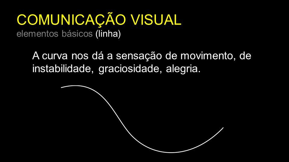 COMUNICAÇÃO VISUAL elementos básicos (linha) A curva nos dá a sensação de movimento, de instabilidade, graciosidade, alegria.