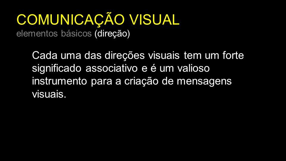 COMUNICAÇÃO VISUAL elementos básicos (direção) Cada uma das direções visuais tem um forte significado associativo e é um valioso instrumento para a cr