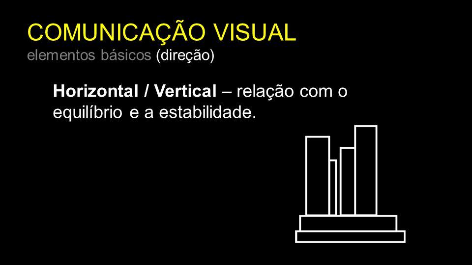 COMUNICAÇÃO VISUAL elementos básicos (direção) Horizontal / Vertical – relação com o equilíbrio e a estabilidade.