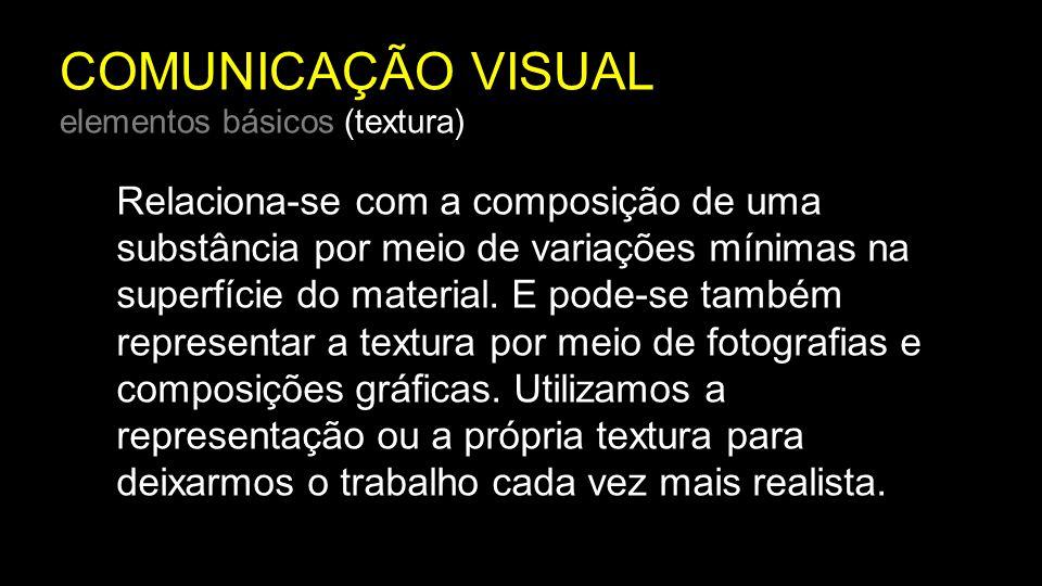 COMUNICAÇÃO VISUAL elementos básicos (textura) Relaciona-se com a composição de uma substância por meio de variações mínimas na superfície do material