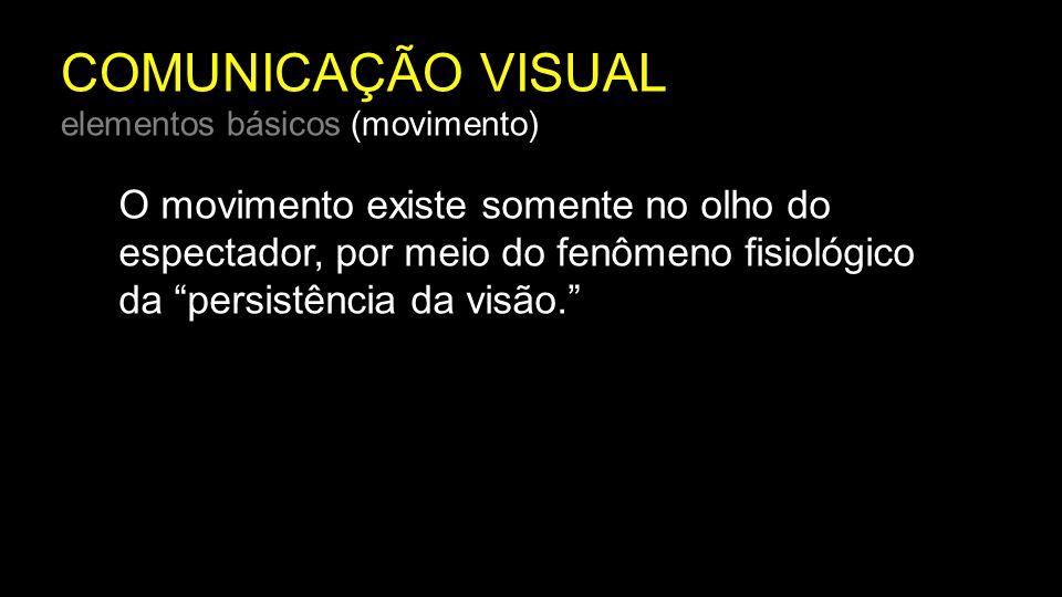 """COMUNICAÇÃO VISUAL elementos básicos (movimento) O movimento existe somente no olho do espectador, por meio do fenômeno fisiológico da """"persistência d"""