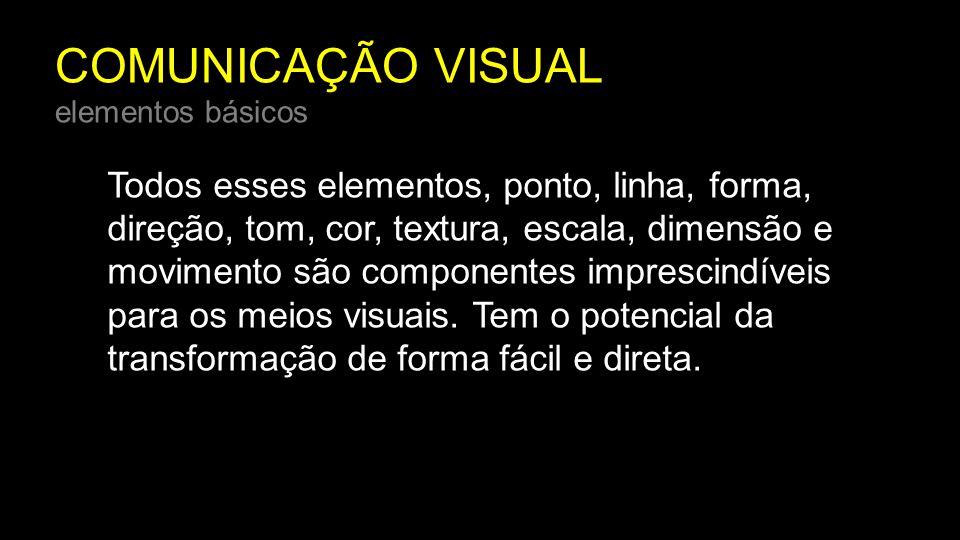 COMUNICAÇÃO VISUAL elementos básicos Todos esses elementos, ponto, linha, forma, direção, tom, cor, textura, escala, dimensão e movimento são componen