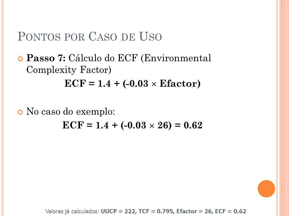 P ONTOS POR C ASO DE U SO Passo 7: Cálculo do ECF (Environmental Complexity Factor) ECF = 1.4 + (-0.03  Efactor) No caso do exemplo: ECF = 1.4 + (-0.03  26) = 0.62 Valores já calculados: UUCP = 222, TCF = 0.795, Efactor = 26, ECF = 0.62