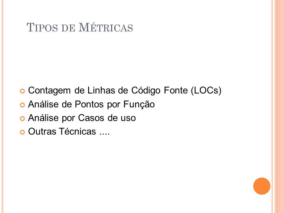 T IPOS DE M ÉTRICAS Contagem de Linhas de Código Fonte (LOCs) Análise de Pontos por Função Análise por Casos de uso Outras Técnicas....