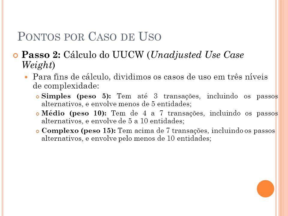 P ONTOS POR C ASO DE U SO Passo 2: Cálculo do UUCW ( Unadjusted Use Case Weight )  Para fins de cálculo, dividimos os casos de uso em três níveis de complexidade: Simples (peso 5): Tem até 3 transações, incluindo os passos alternativos, e envolve menos de 5 entidades; Médio (peso 10): Tem de 4 a 7 transações, incluindo os passos alternativos, e envolve de 5 a 10 entidades; Complexo (peso 15): Tem acima de 7 transações, incluindo os passos alternativos, e envolve pelo menos de 10 entidades;