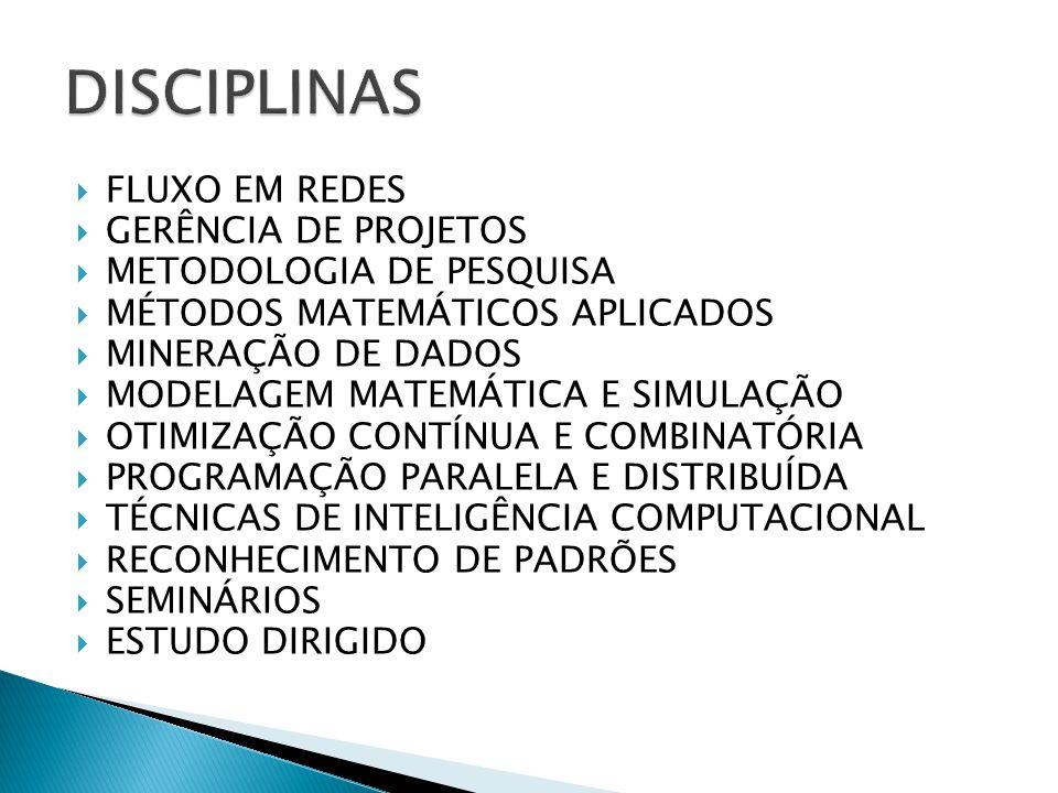  FLUXO EM REDES  GERÊNCIA DE PROJETOS  METODOLOGIA DE PESQUISA  MÉTODOS MATEMÁTICOS APLICADOS  MINERAÇÃO DE DADOS  MODELAGEM MATEMÁTICA E SIMULA