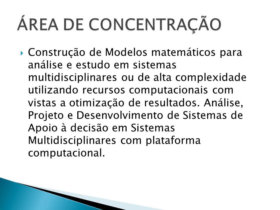  Construção de Modelos matemáticos para análise e estudo em sistemas multidisciplinares ou de alta complexidade utilizando recursos computacionais co