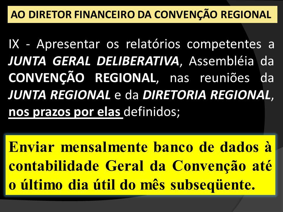 IX - Apresentar os relatórios competentes a JUNTA GERAL DELIBERATIVA, Assembléia da CONVENÇÃO REGIONAL, nas reuniões da JUNTA REGIONAL e da DIRETORIA